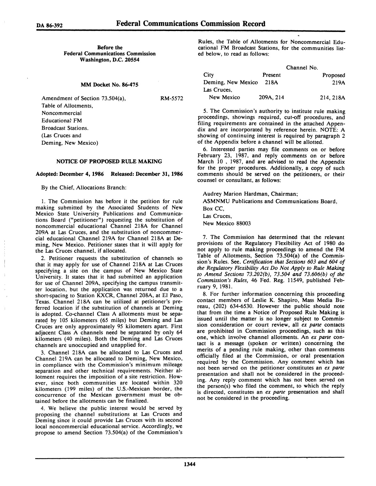 FCC Record, Volume 1, No. 7, Pages 1267 to 1368, December 22, 1986 - January 2, 1987                                                                                                      1344