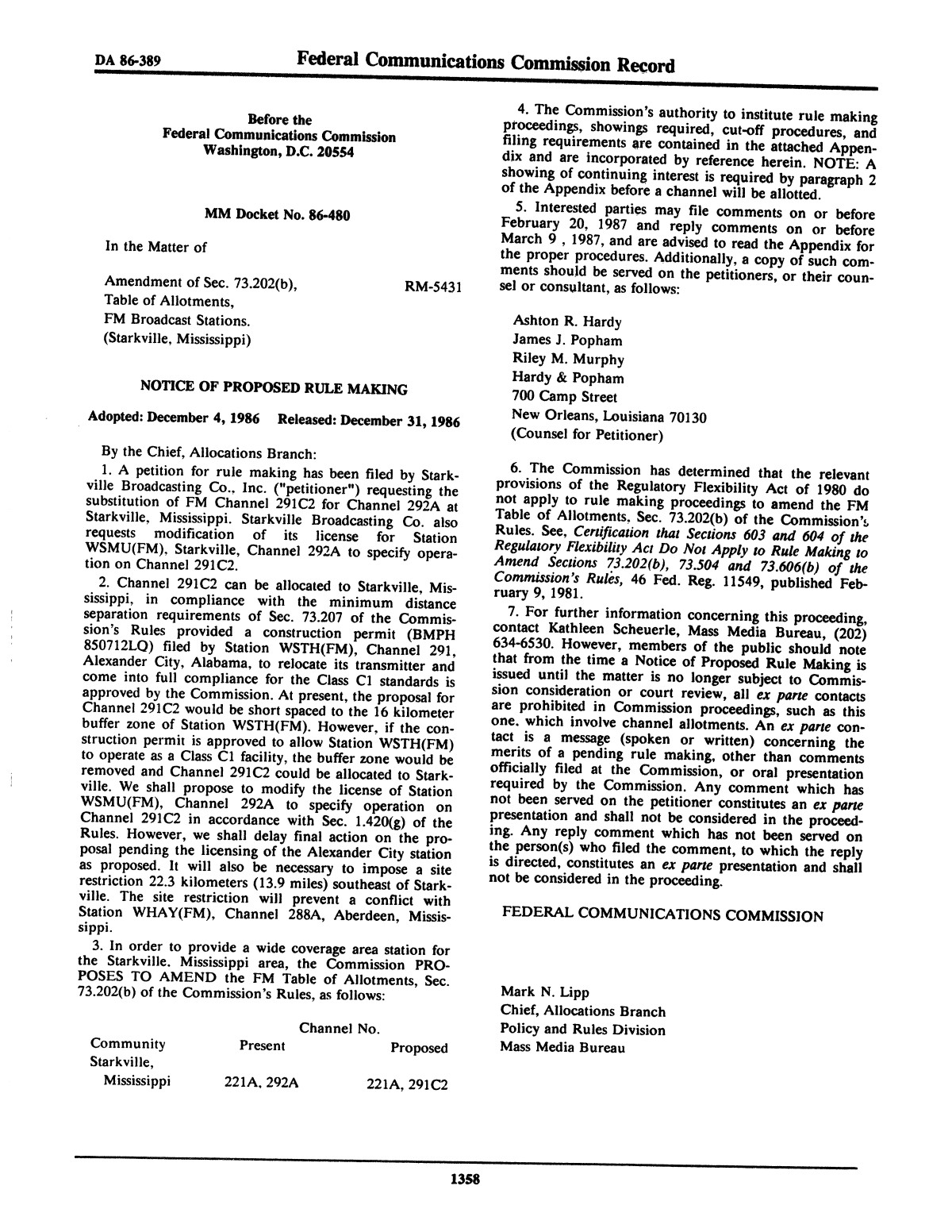FCC Record, Volume 1, No. 7, Pages 1267 to 1368, December 22, 1986 - January 2, 1987                                                                                                      1358