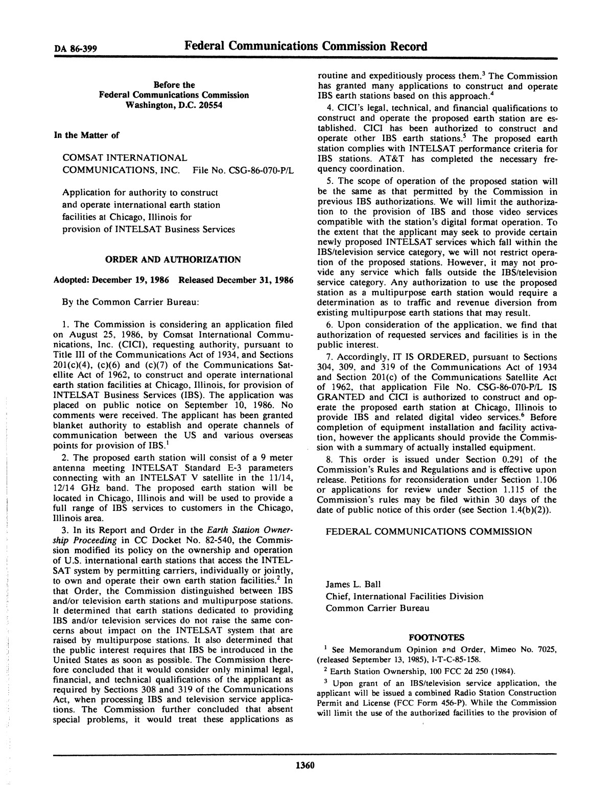 FCC Record, Volume 1, No. 7, Pages 1267 to 1368, December 22, 1986 - January 2, 1987                                                                                                      1360