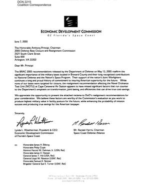 Primary view of object titled 'Coalition Correspondence – Letter dated 7 June, 2005 to Chairman Principi from the Economic Development Commission of Florida's Space Coast'.