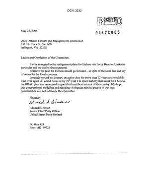 Primary view of object titled 'Letter from Edward S. Sisson to Commission concerning the closure of Eielson Air Force Base'.