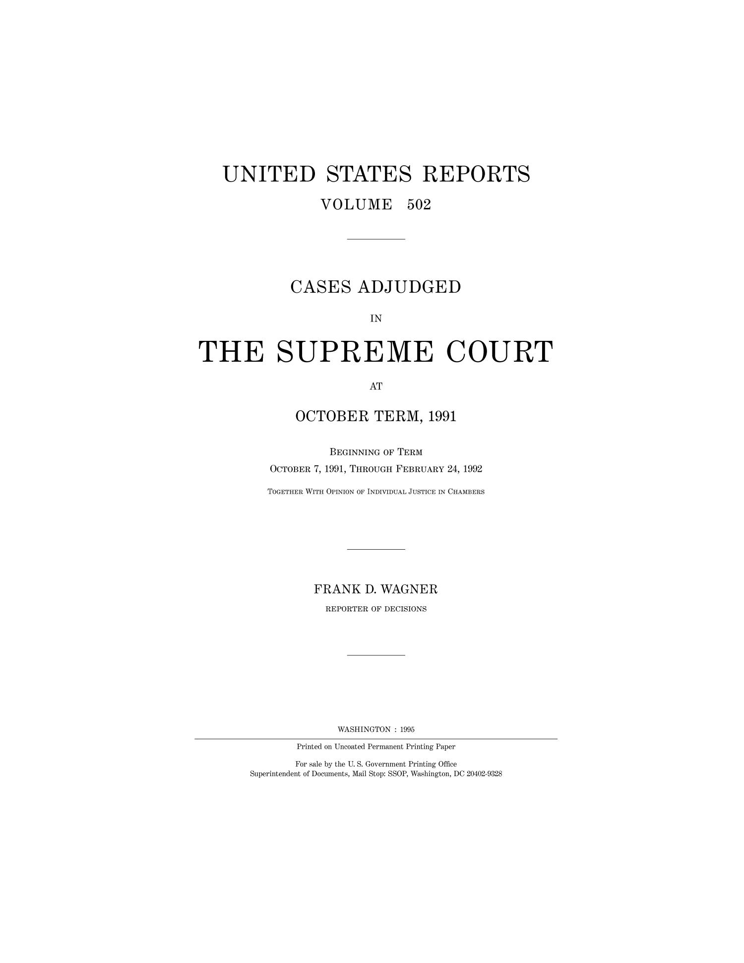 Cases Adjudged in The Supreme Court at October Term, 1991                                                                                                      Title Page