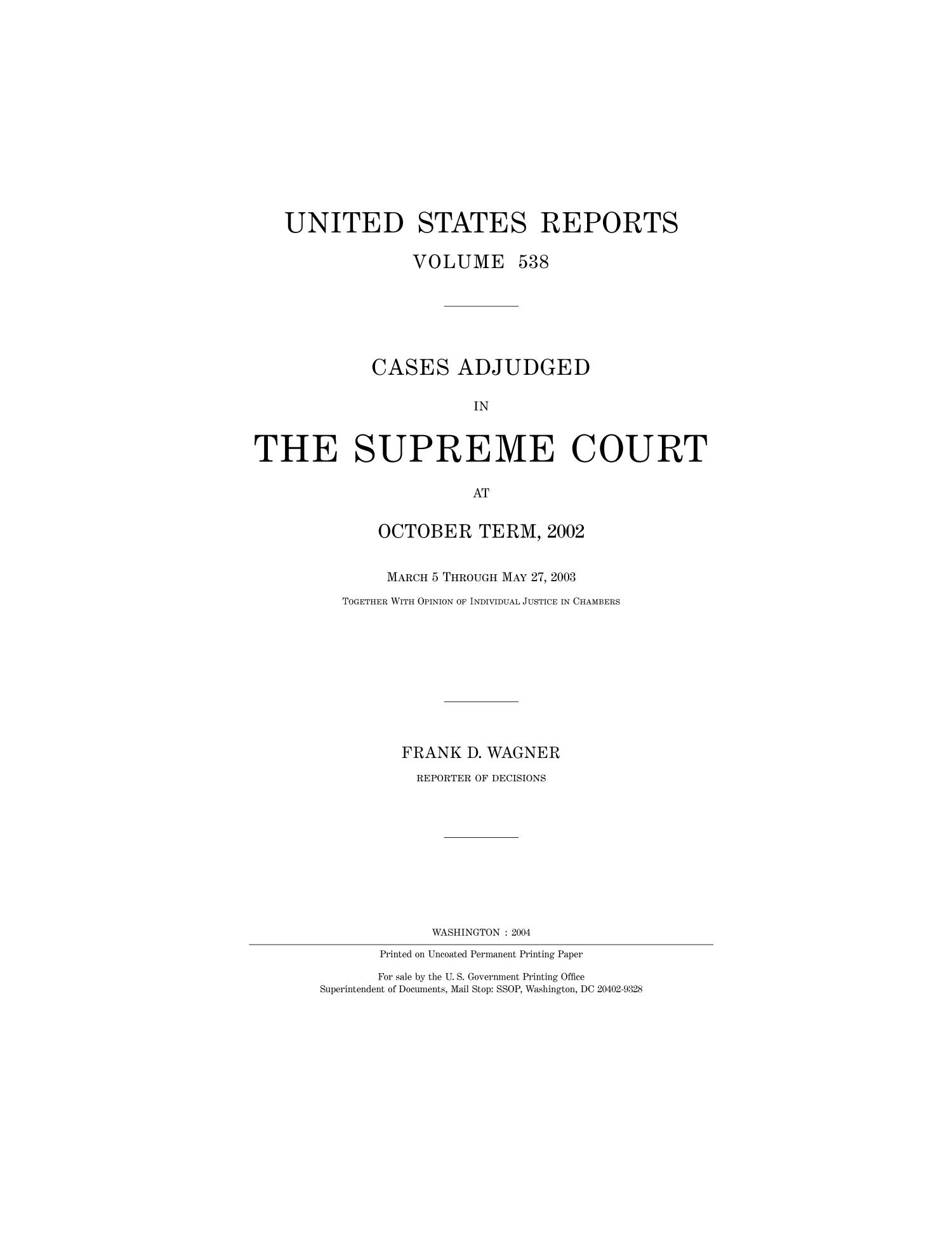 Cases Adjudged in The Supreme Court at October Term, 2002