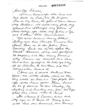 Primary view of object titled 'Letters from Jan McKay to Commission concerning the closure of Cannon AFB'.