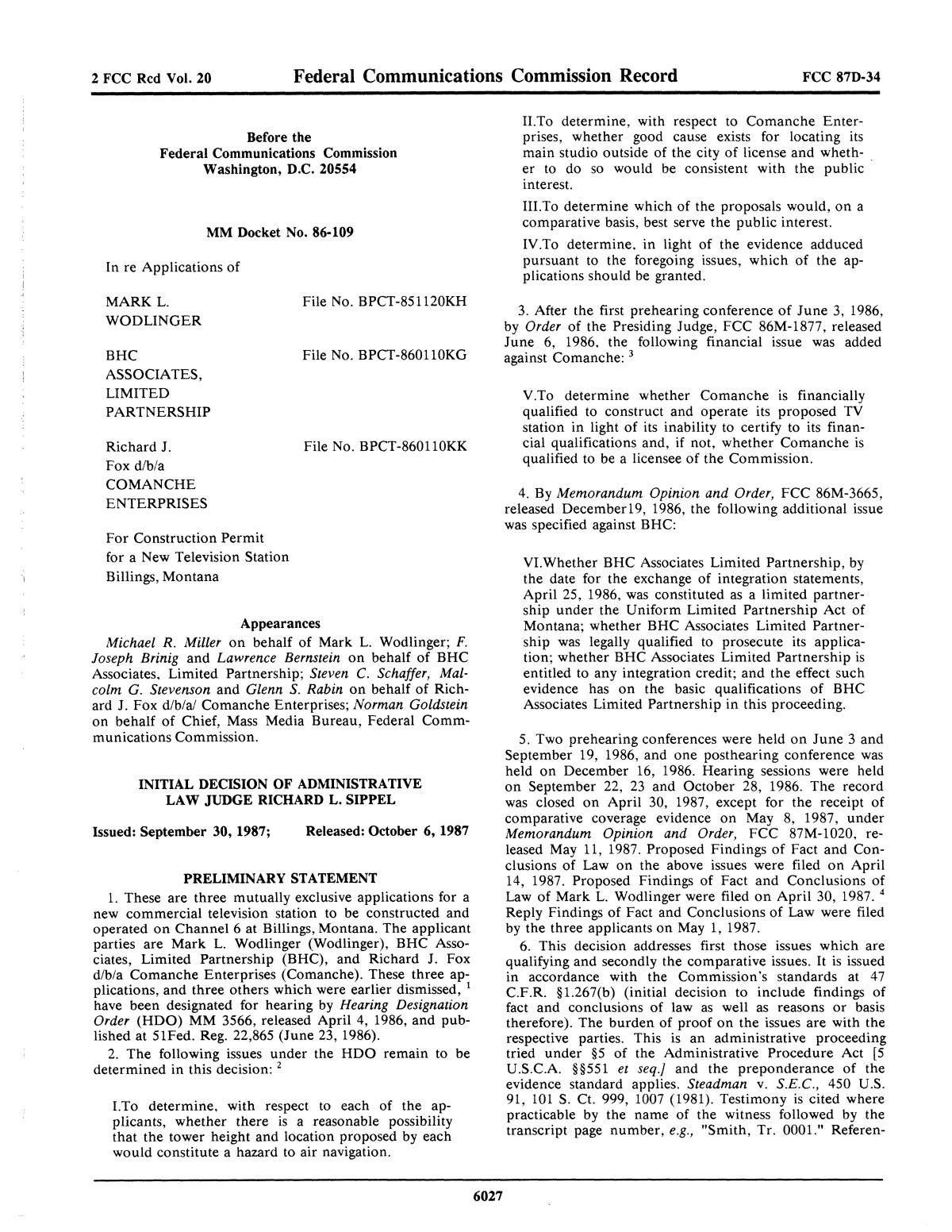 FCC Record, Volume 2, No. 20, Pages 5848 to 6225, September 28 - October 9, 1987                                                                                                      6027