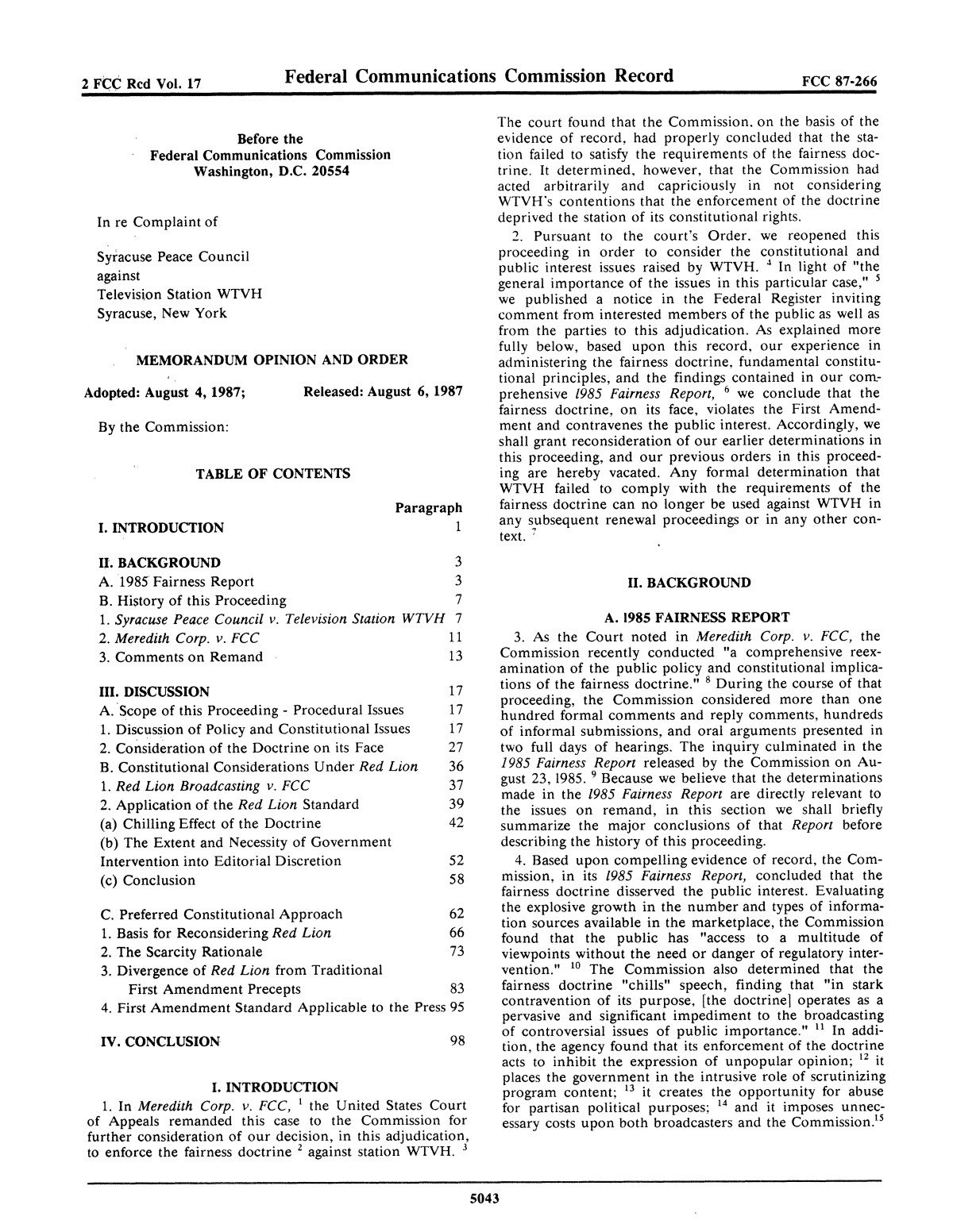 FCC Record, Volume 2, No. 17, Pages 5002 to 5398, August 17 - August 28, 1987                                                                                                      5043