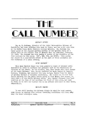 Primary view of object titled 'The Call Number, Volume 4, Number 5, February 1943'.