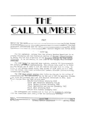Primary view of object titled 'The Call Number, Volume 4, Number 6, March 1943'.