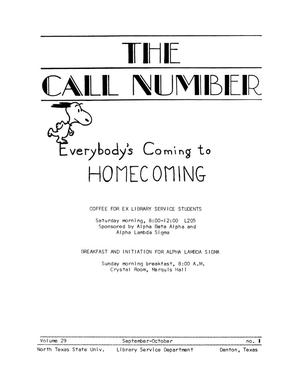Primary view of Call Number, Volume 29, Number 1, September-October [1967]