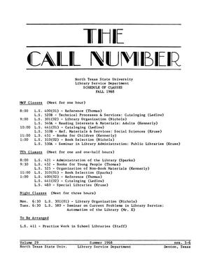 Primary view of object titled 'Call Number, Volume 29, Number 5-6, Summer 1968'.