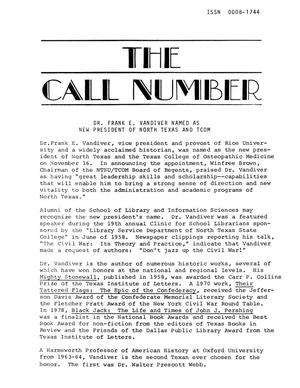 Primary view of object titled 'Call Number, Volume 41, Number 1, Fall 1979'.