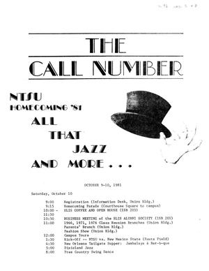 Primary view of object titled 'The Call Number, Volume 42, Number 2-3, Summer 1981'.