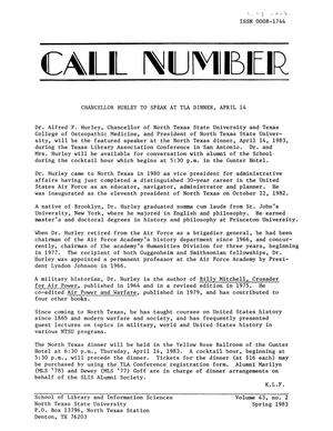 Primary view of object titled 'The Call Number, Volume 43, Number 2, Fall 1983'.