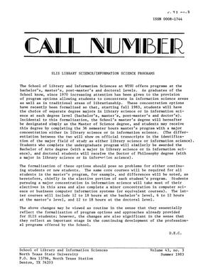 Primary view of object titled 'The Call Number, Volume 43, Number 3, Summer 1983'.
