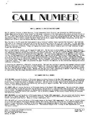 Primary view of object titled 'The Call Number, Volume 44, Number 3, Summer 1984'.