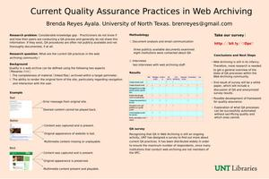 Primary view of object titled 'Current Quality Assurance Practices in Web Archiving [Poster]'.