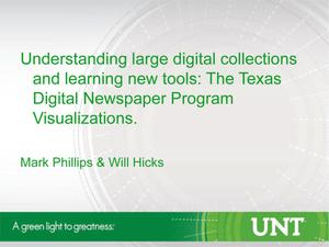 Primary view of object titled 'Understanding large digital collections and learning new tools: The Texas Digital Newspaper Program Visualizations'.
