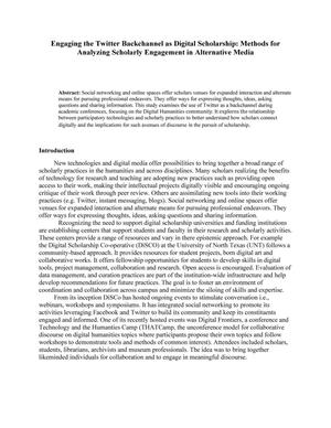 Primary view of object titled 'Engaging the Twitter Backchannel as Digital Scholarship: Methods for Analyzing Scholarly Engagement in Alternative Media'.
