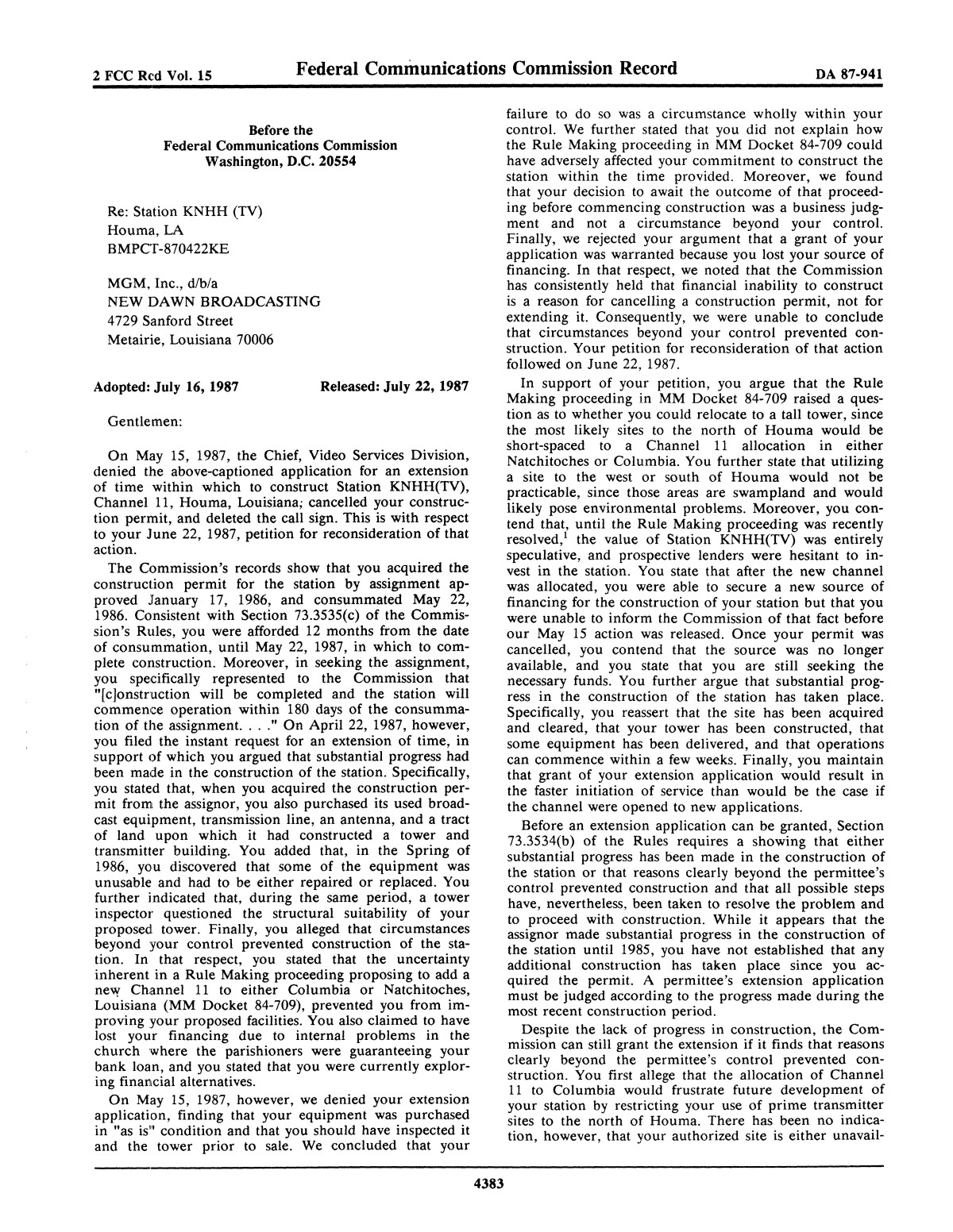 FCC Record, Volume 2, No. 15, Pages 4316 to 4529, July 20 - July 31, 1987                                                                                                      4383
