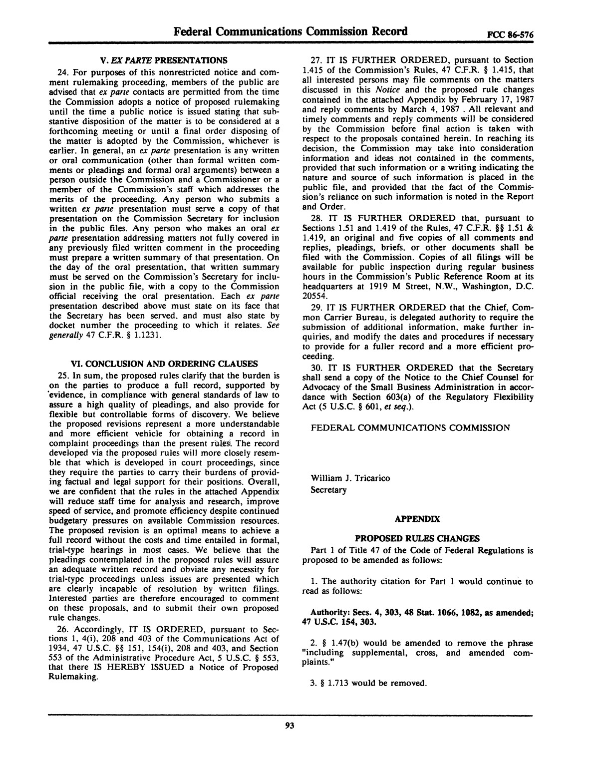 FCC Record, Volume 2, No. 1, Pages 1 to 409, January 5 - January 16, 1987                                                                                                      93