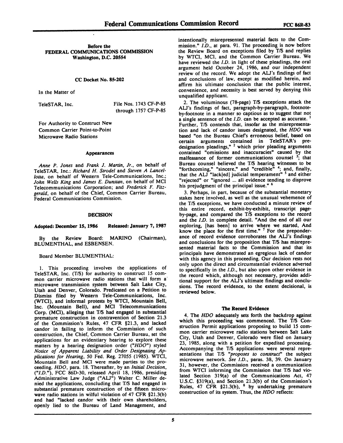 FCC Record, Volume 2, No. 1, Pages 1 to 409, January 5 - January 16, 1987                                                                                                      5
