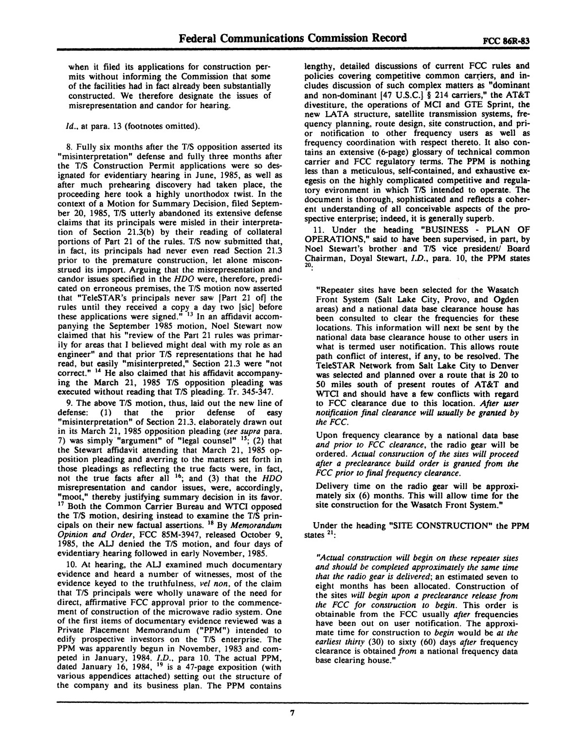 FCC Record, Volume 2, No. 1, Pages 1 to 409, January 5 - January 16, 1987                                                                                                      7