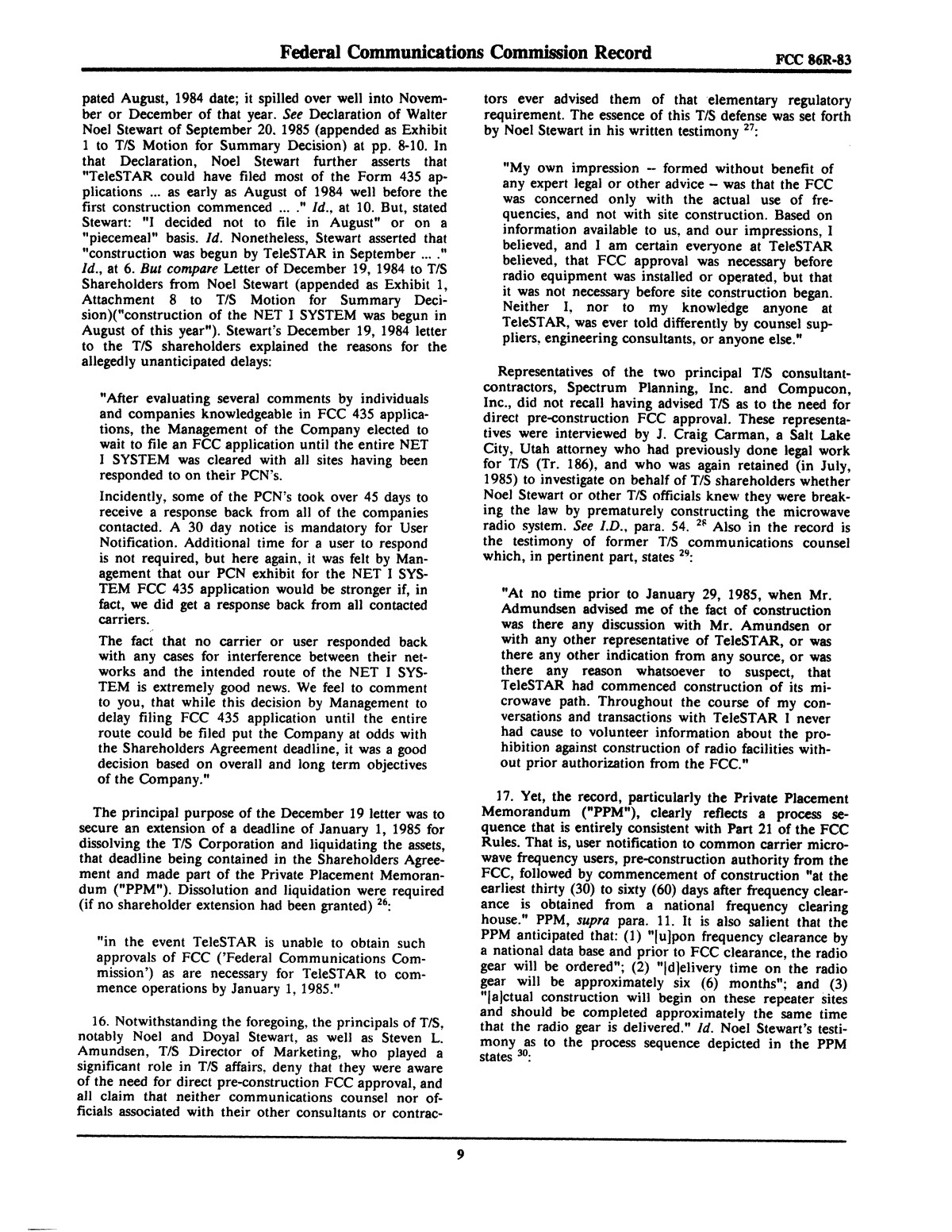 FCC Record, Volume 2, No. 1, Pages 1 to 409, January 5 - January 16, 1987                                                                                                      9