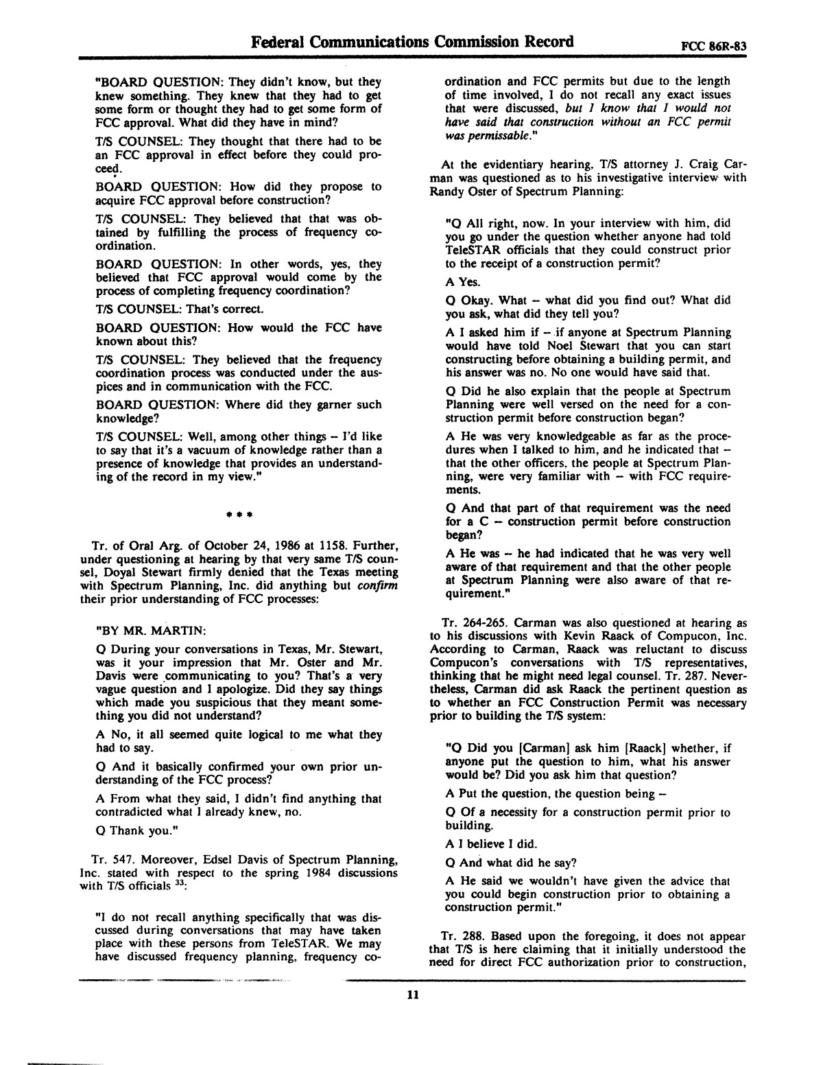 FCC Record, Volume 2, No. 1, Pages 1 to 409, January 5 - January 16, 1987                                                                                                      11