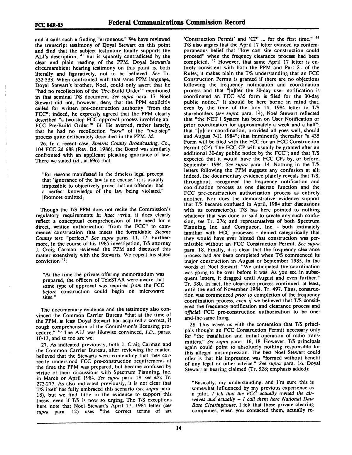 FCC Record, Volume 2, No. 1, Pages 1 to 409, January 5 - January 16, 1987                                                                                                      14