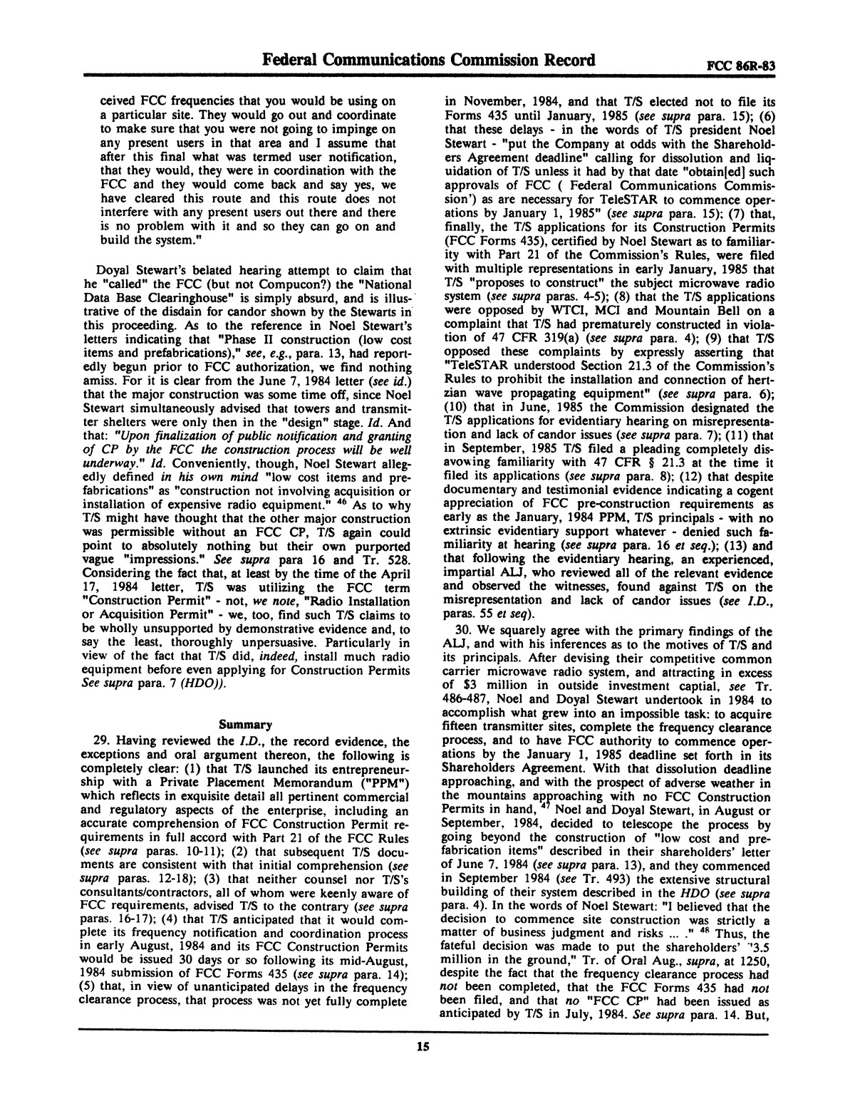 FCC Record, Volume 2, No. 1, Pages 1 to 409, January 5 - January 16, 1987                                                                                                      15