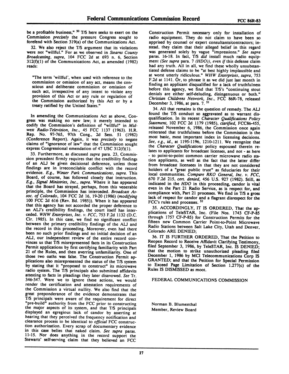 FCC Record, Volume 2, No. 1, Pages 1 to 409, January 5 - January 16, 1987                                                                                                      17