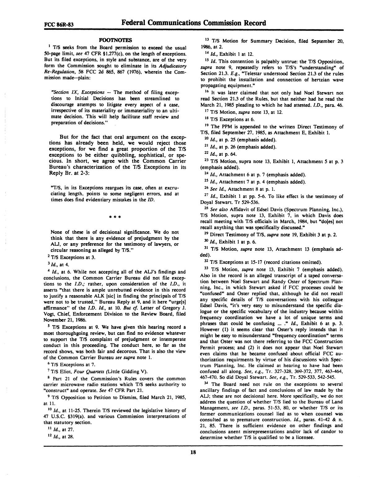 FCC Record, Volume 2, No. 1, Pages 1 to 409, January 5 - January 16, 1987                                                                                                      18