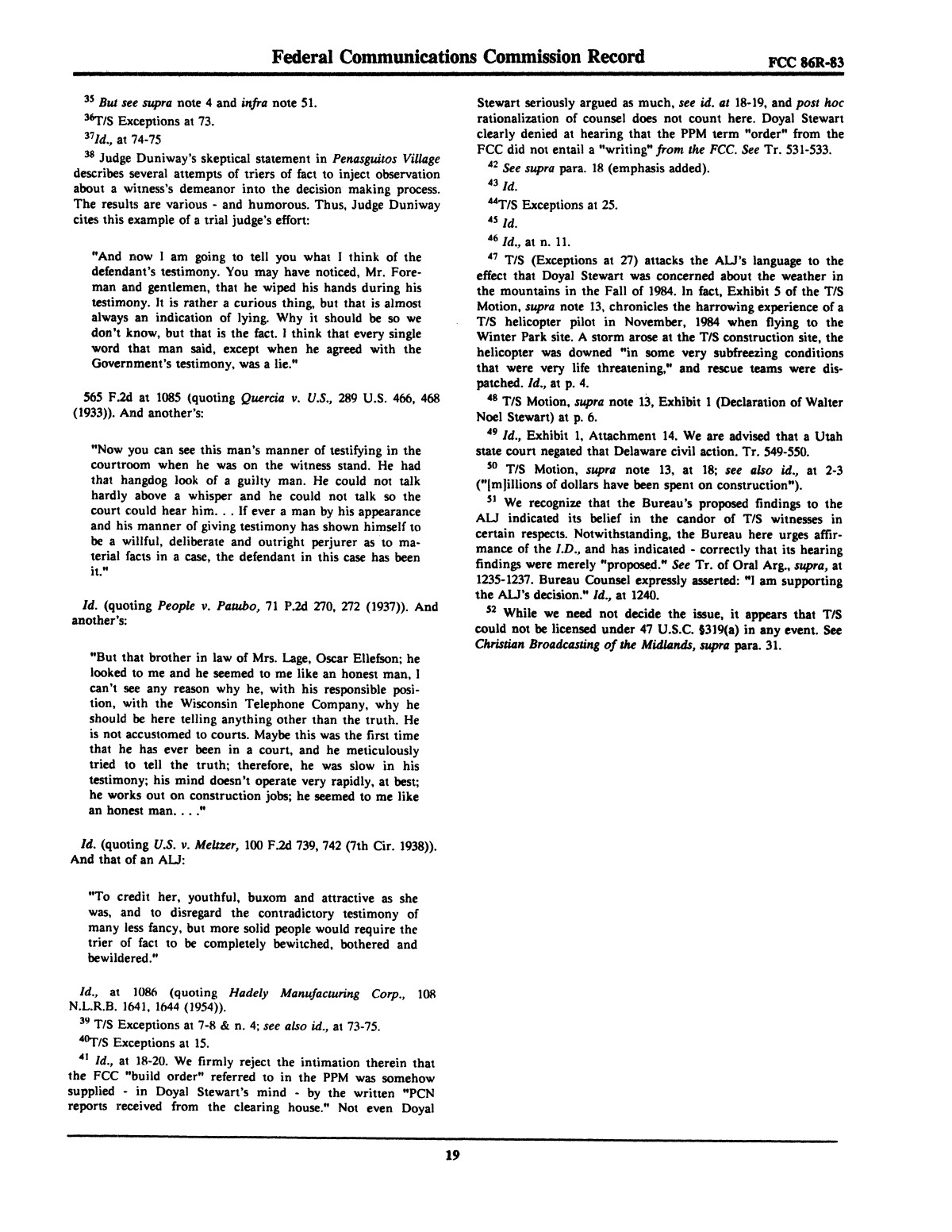 FCC Record, Volume 2, No. 1, Pages 1 to 409, January 5 - January 16, 1987                                                                                                      19