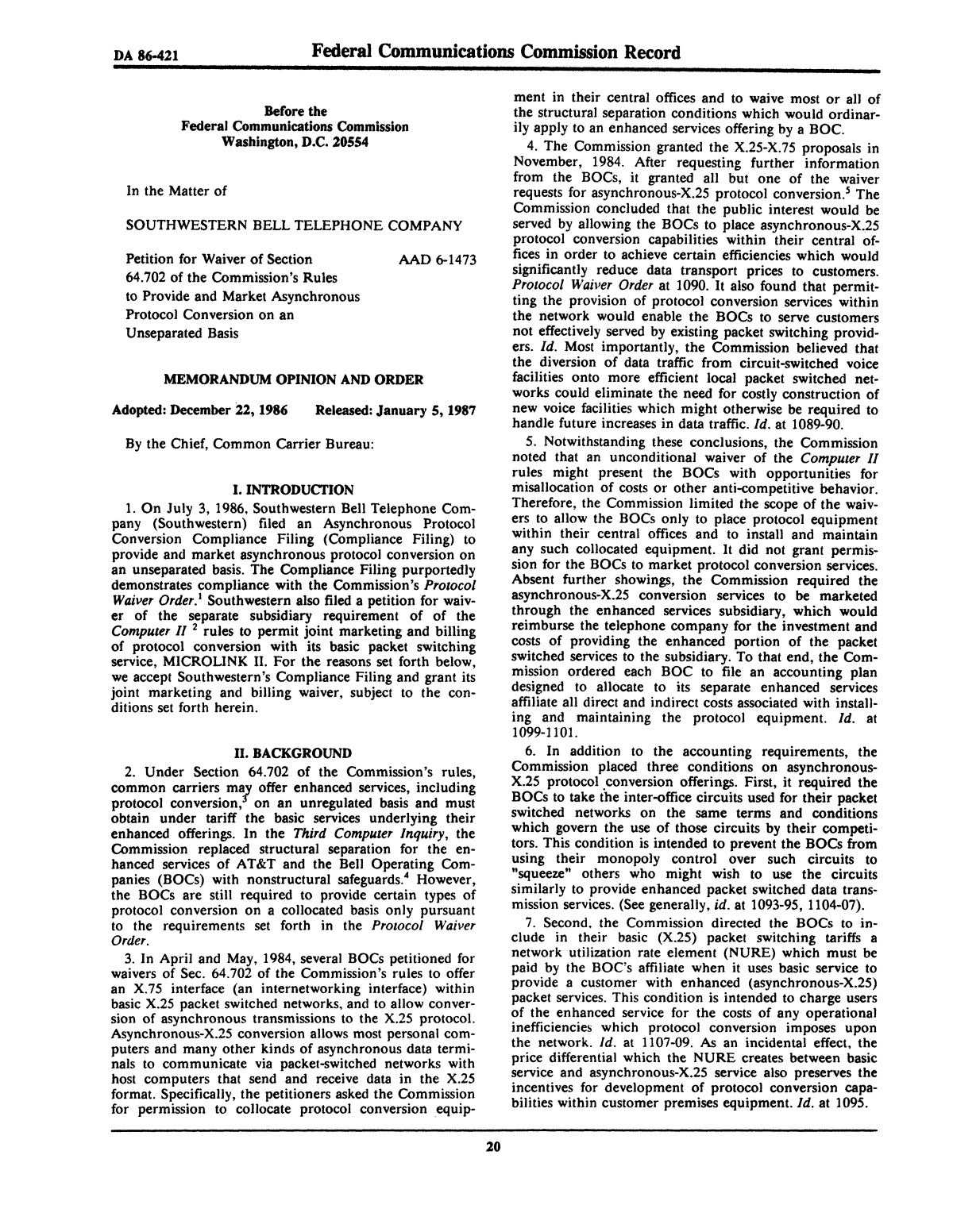 FCC Record, Volume 2, No. 1, Pages 1 to 409, January 5 - January 16, 1987                                                                                                      20