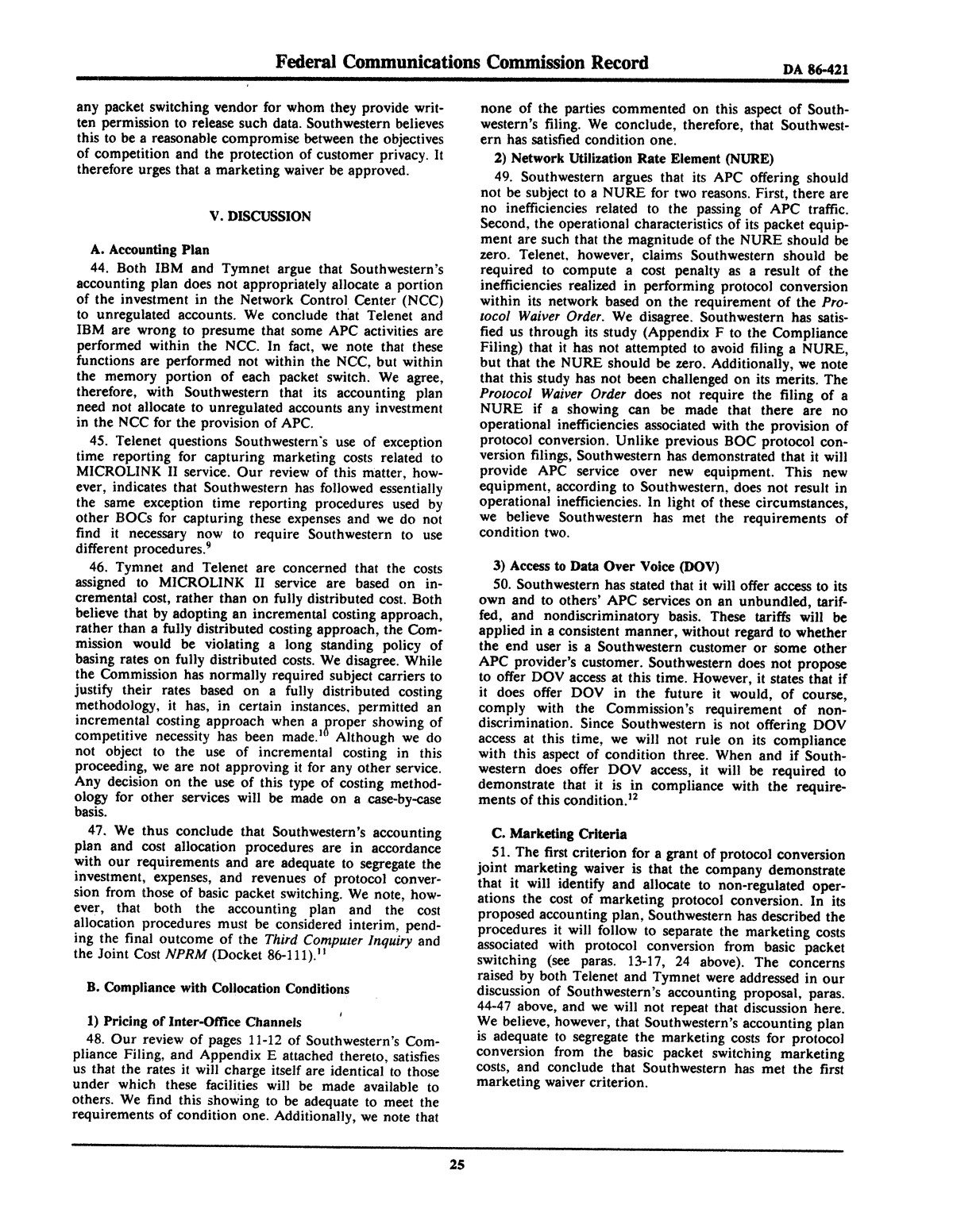 FCC Record, Volume 2, No. 1, Pages 1 to 409, January 5 - January 16, 1987                                                                                                      25