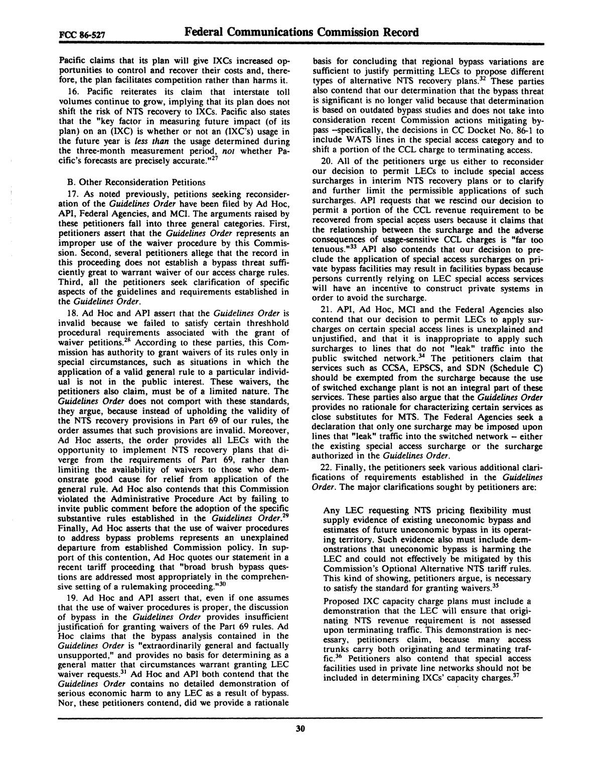 FCC Record, Volume 2, No. 1, Pages 1 to 409, January 5 - January 16, 1987                                                                                                      30