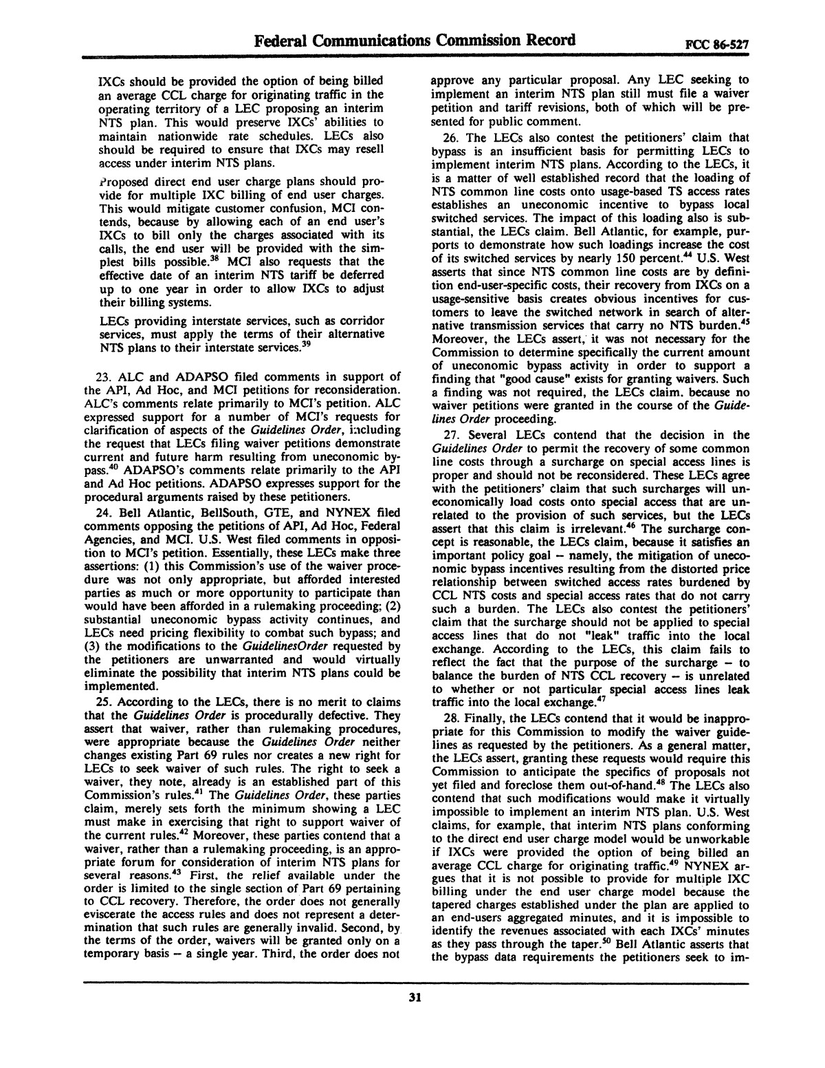 FCC Record, Volume 2, No. 1, Pages 1 to 409, January 5 - January 16, 1987                                                                                                      31