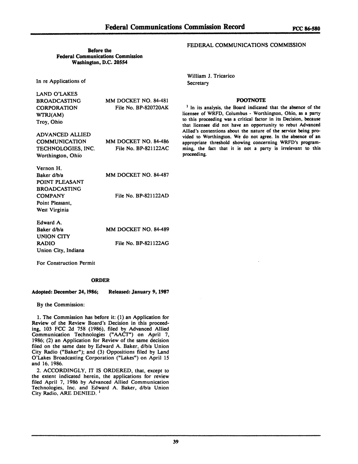 FCC Record, Volume 2, No. 1, Pages 1 to 409, January 5 - January 16, 1987                                                                                                      39