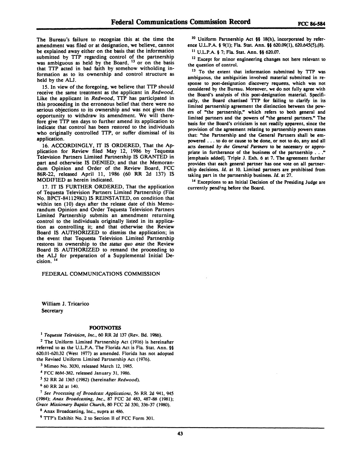 FCC Record, Volume 2, No. 1, Pages 1 to 409, January 5 - January 16, 1987                                                                                                      43