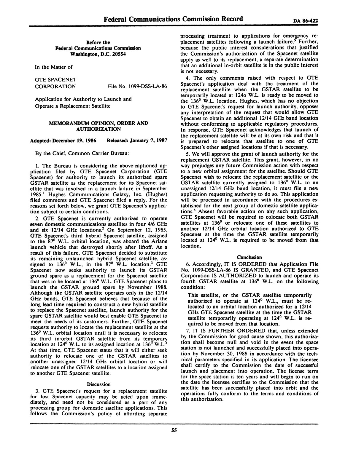FCC Record, Volume 2, No. 1, Pages 1 to 409, January 5 - January 16, 1987                                                                                                      55