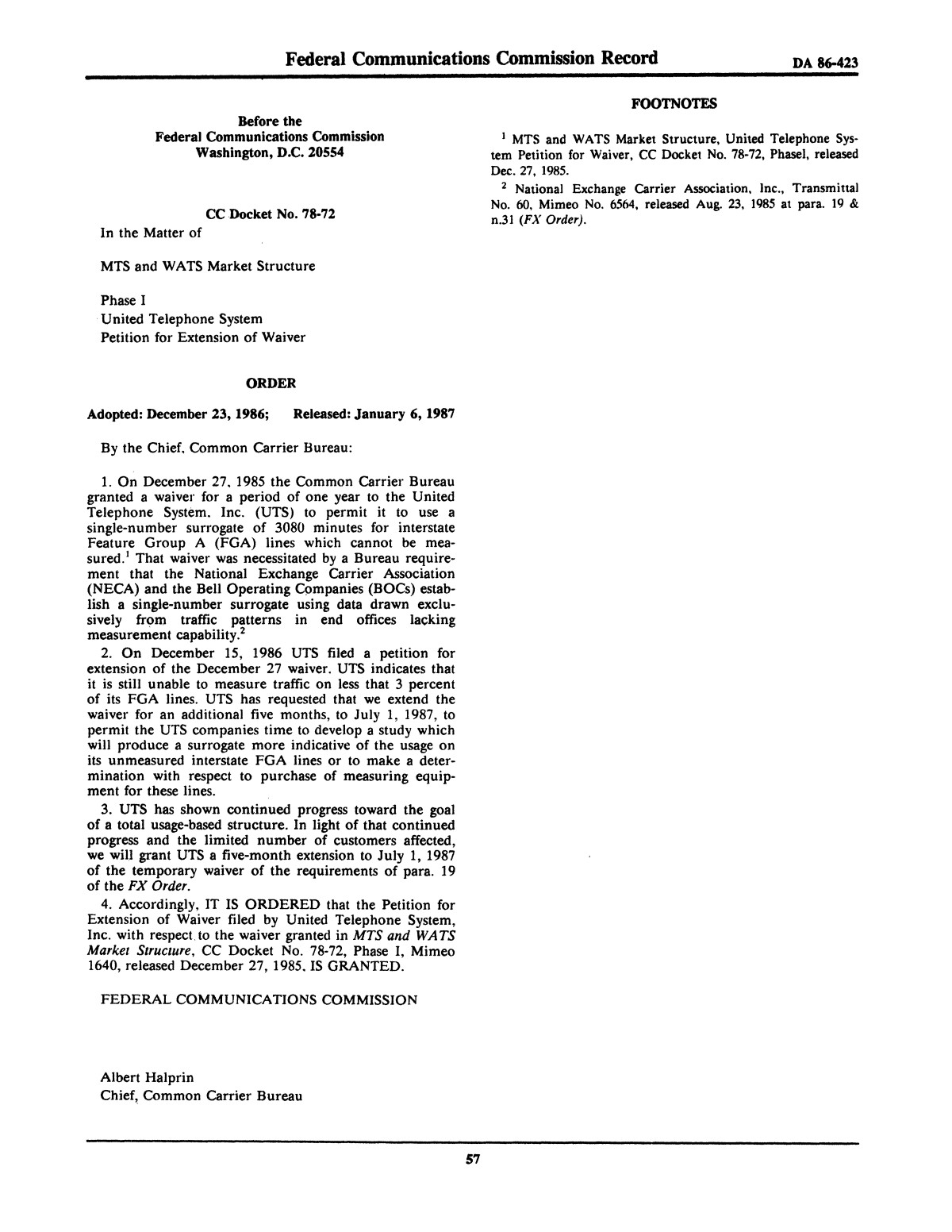 FCC Record, Volume 2, No. 1, Pages 1 to 409, January 5 - January 16, 1987                                                                                                      57