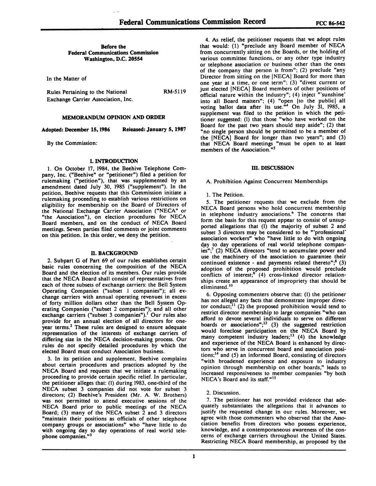 FCC Record, Volume 2, No. 1, Pages 1 to 409, January 5 - January 16, 1987                                                                                                      1
