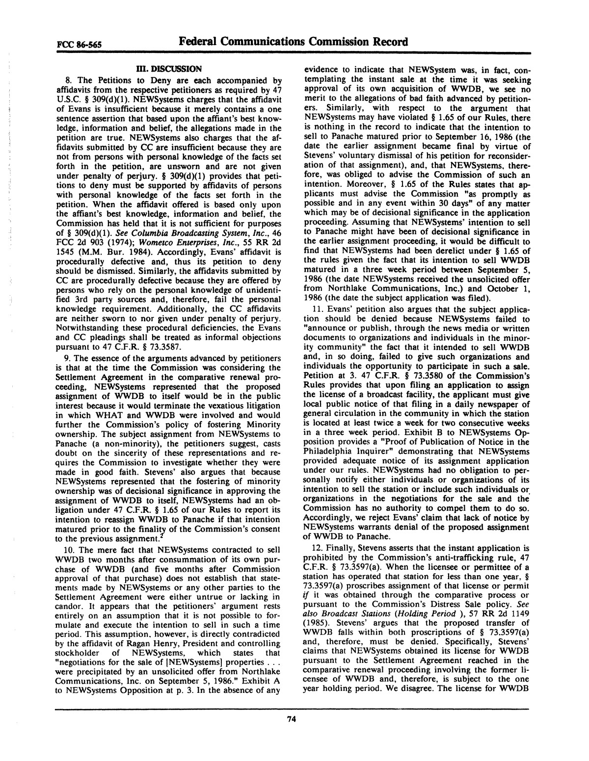 FCC Record, Volume 2, No. 1, Pages 1 to 409, January 5 - January 16, 1987                                                                                                      74