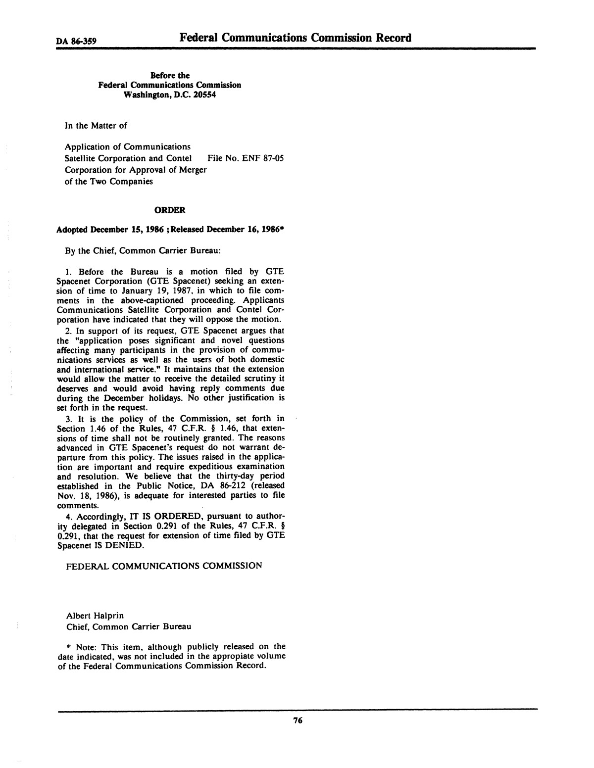 FCC Record, Volume 2, No. 1, Pages 1 to 409, January 5 - January 16, 1987                                                                                                      76