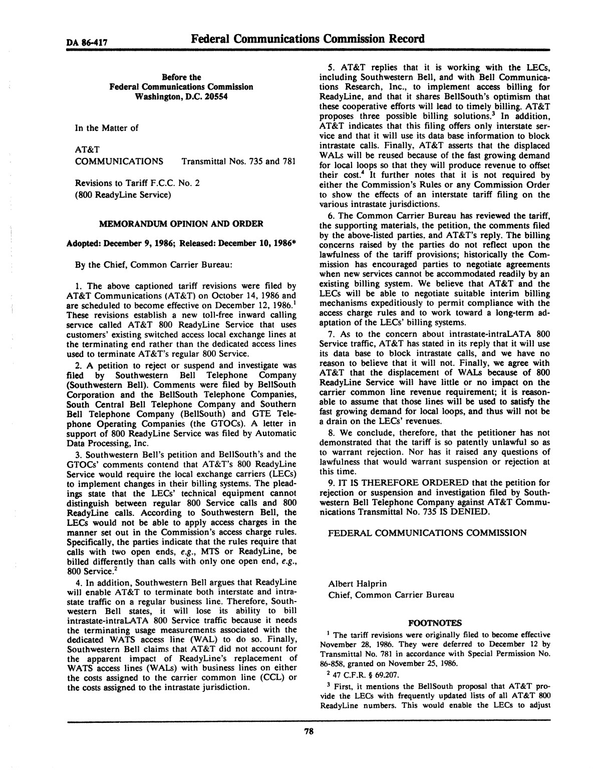 FCC Record, Volume 2, No. 1, Pages 1 to 409, January 5 - January 16, 1987                                                                                                      78