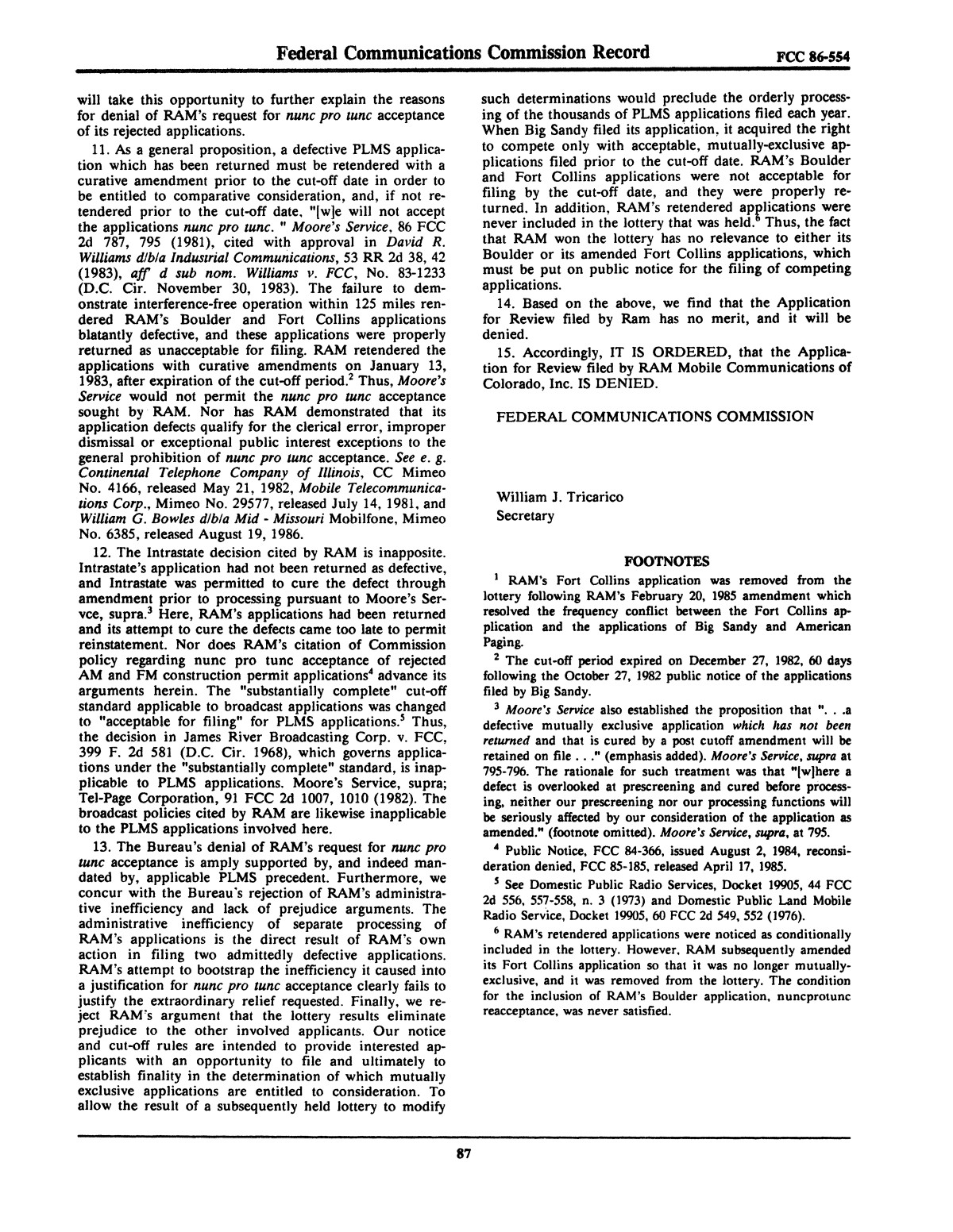 FCC Record, Volume 2, No. 1, Pages 1 to 409, January 5 - January 16, 1987                                                                                                      87