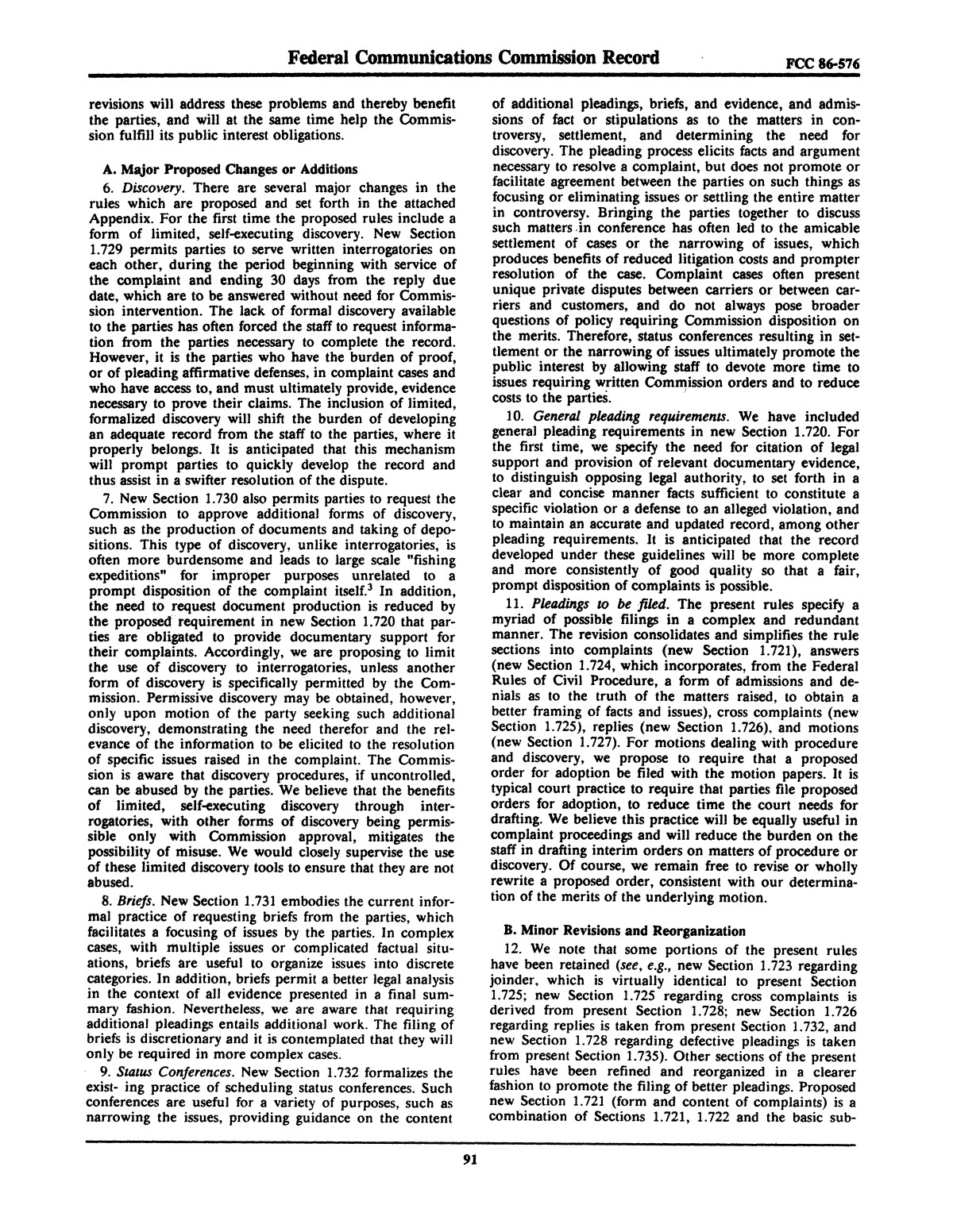 FCC Record, Volume 2, No. 1, Pages 1 to 409, January 5 - January 16, 1987                                                                                                      91