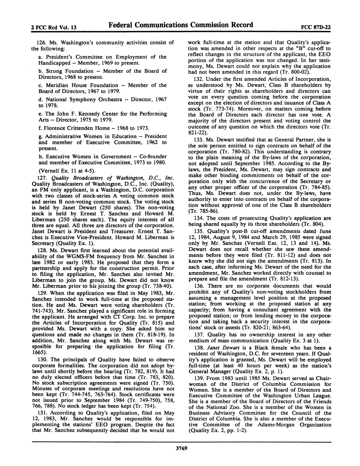 FCC Record, Volume 2, No. 13, Pages 3683 to 4000, June 22 - July 2, 1987                                                                                                      3769