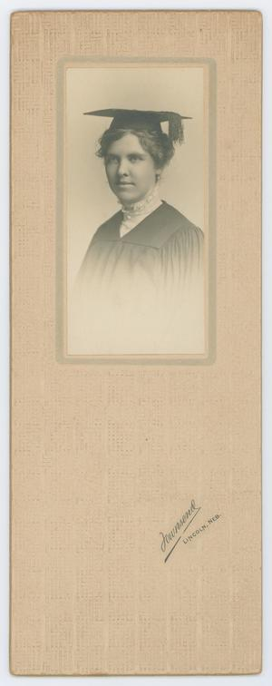 Primary view of object titled '[Beulah Harriss in cap and gown]'.