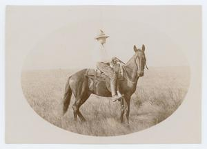 Primary view of object titled '[George Patullo ready to ride]'.